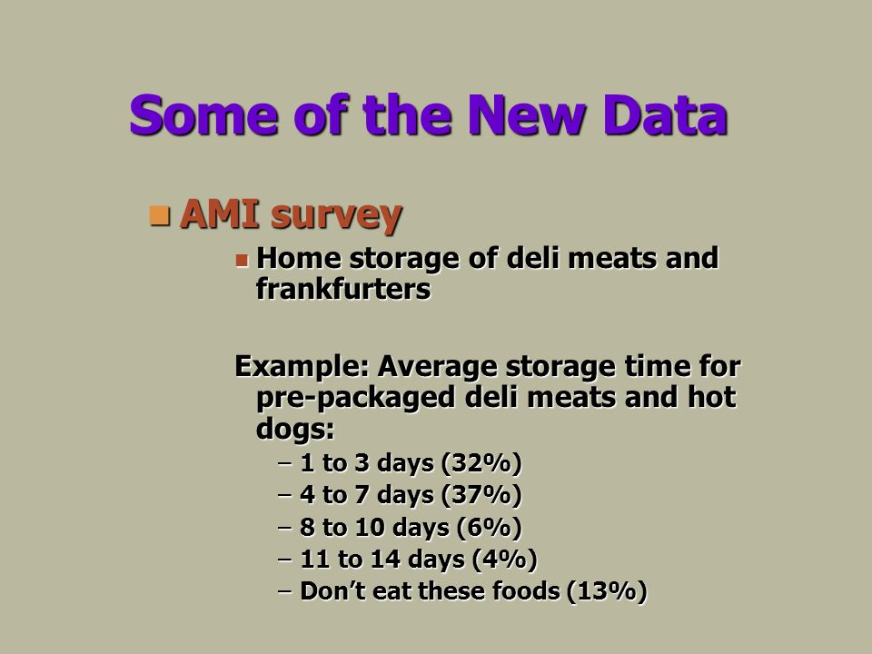 Some of the New Data AMI survey AMI survey Home storage of deli meats and frankfurters Home storage of deli meats and frankfurters Example: Average storage time for pre-packaged deli meats and hot dogs: –1 to 3 days (32%) –4 to 7 days (37%) –8 to 10 days (6%) –11 to 14 days (4%) –Dont eat these foods (13%)