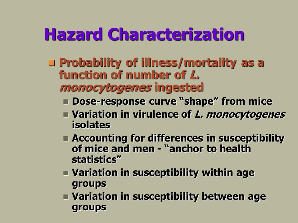 Hazard Characterization Probability of illness/mortality as a function of number of L.