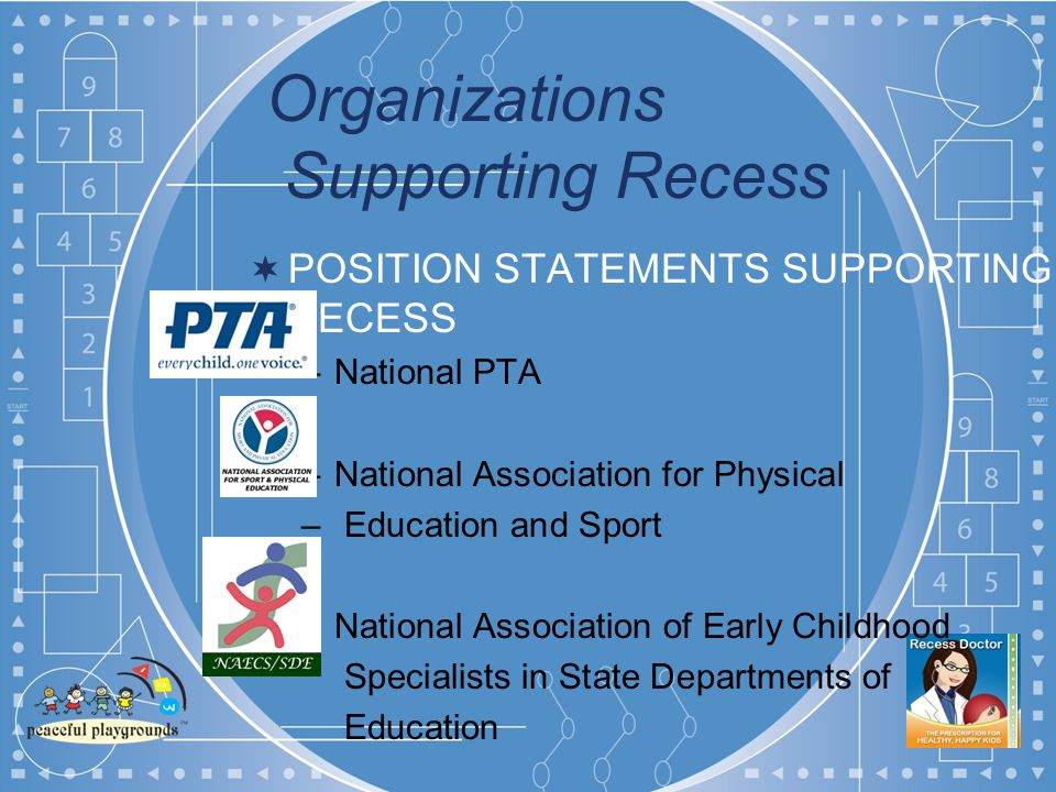 Organizations Supporting Recess POSITION STATEMENTS SUPPORTING RECESS –National PTA –National Association for Physical – Education and Sport –National Association of Early Childhood Specialists in State Departments of Education