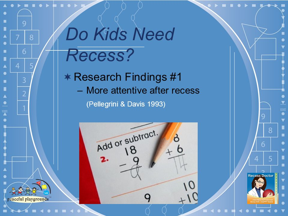 Do Kids Need Recess Research Findings #1 –More attentive after recess (Pellegrini & Davis 1993)