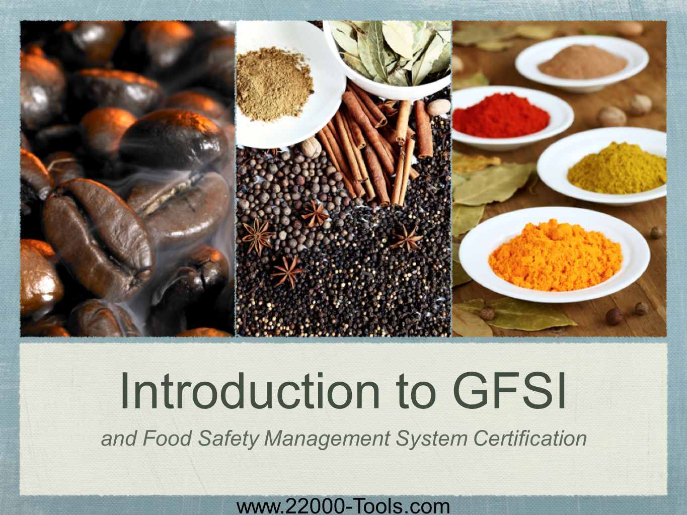 www.22000-Tools.com Introduction to GFSI and Food Safety Management System Certification