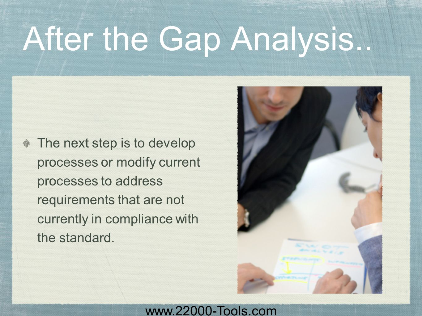 www.22000-Tools.com After the Gap Analysis.. The next step is to develop processes or modify current processes to address requirements that are not cu