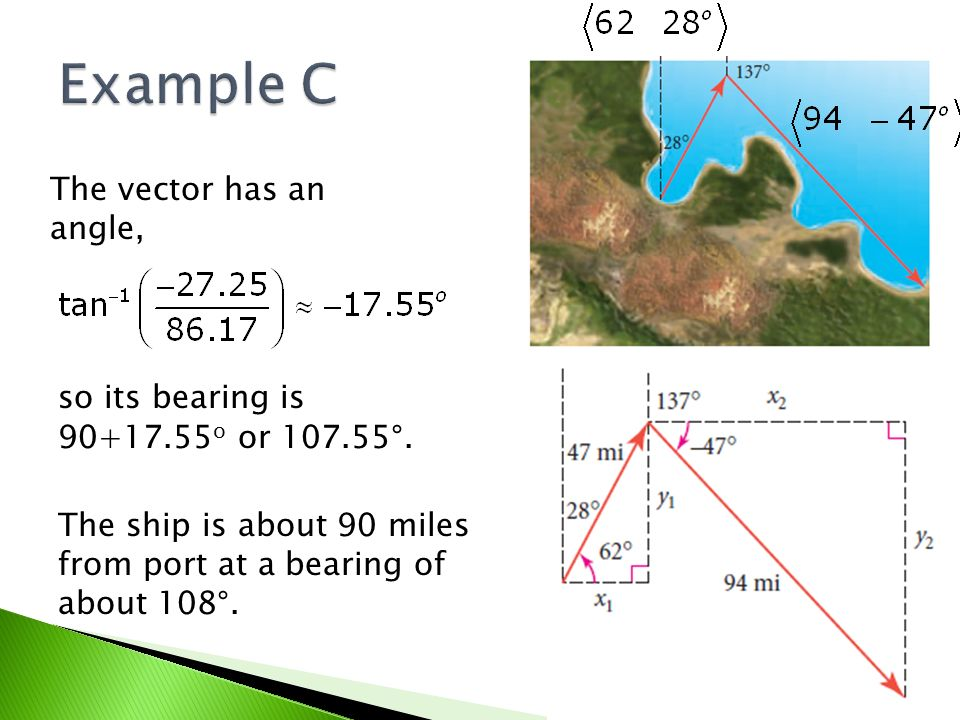 The vector has an angle, so its bearing is 90+17.55 o or 107.55°. The ship is about 90 miles from port at a bearing of about 108°.