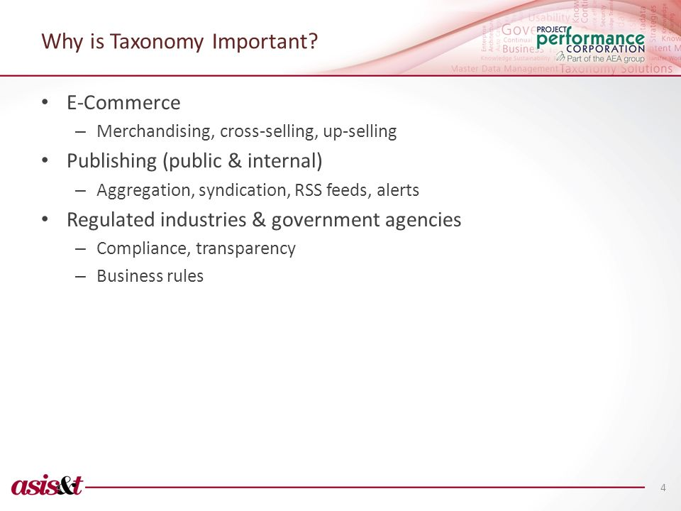 Why is Taxonomy Important? E-Commerce – Merchandising, cross-selling, up-selling Publishing (public & internal) – Aggregation, syndication, RSS feeds,