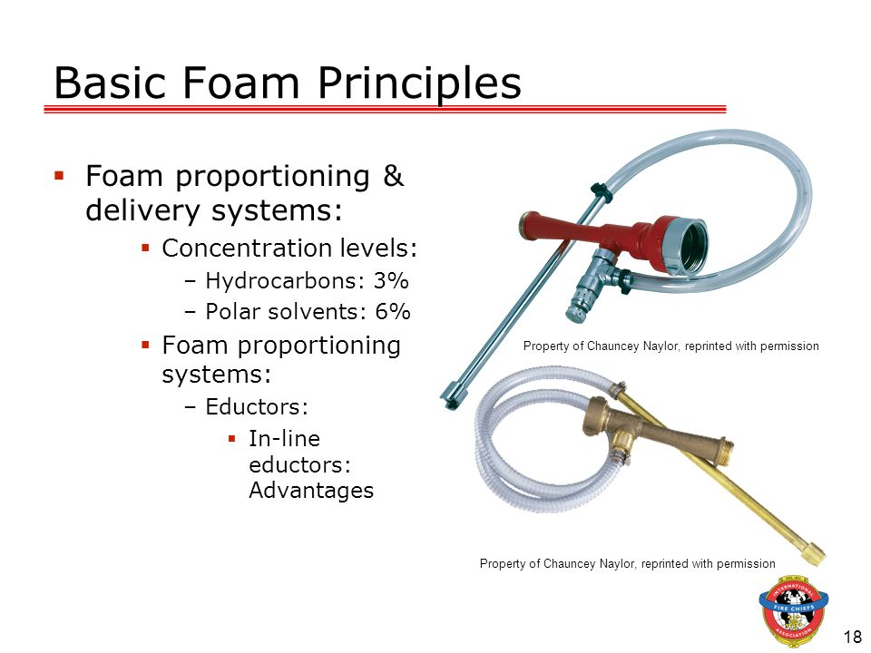 18 Basic Foam Principles Foam proportioning & delivery systems: Concentration levels: –Hydrocarbons: 3% –Polar solvents: 6% Foam proportioning systems