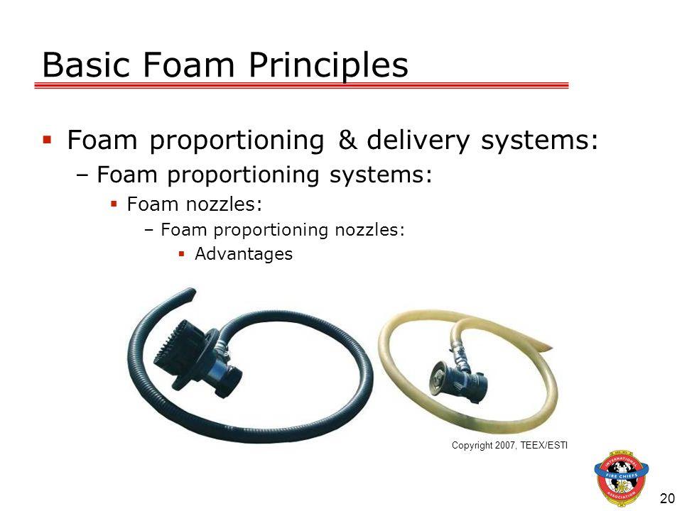 20 Basic Foam Principles Foam proportioning & delivery systems: –Foam proportioning systems: Foam nozzles: –Foam proportioning nozzles: Advantages Cop