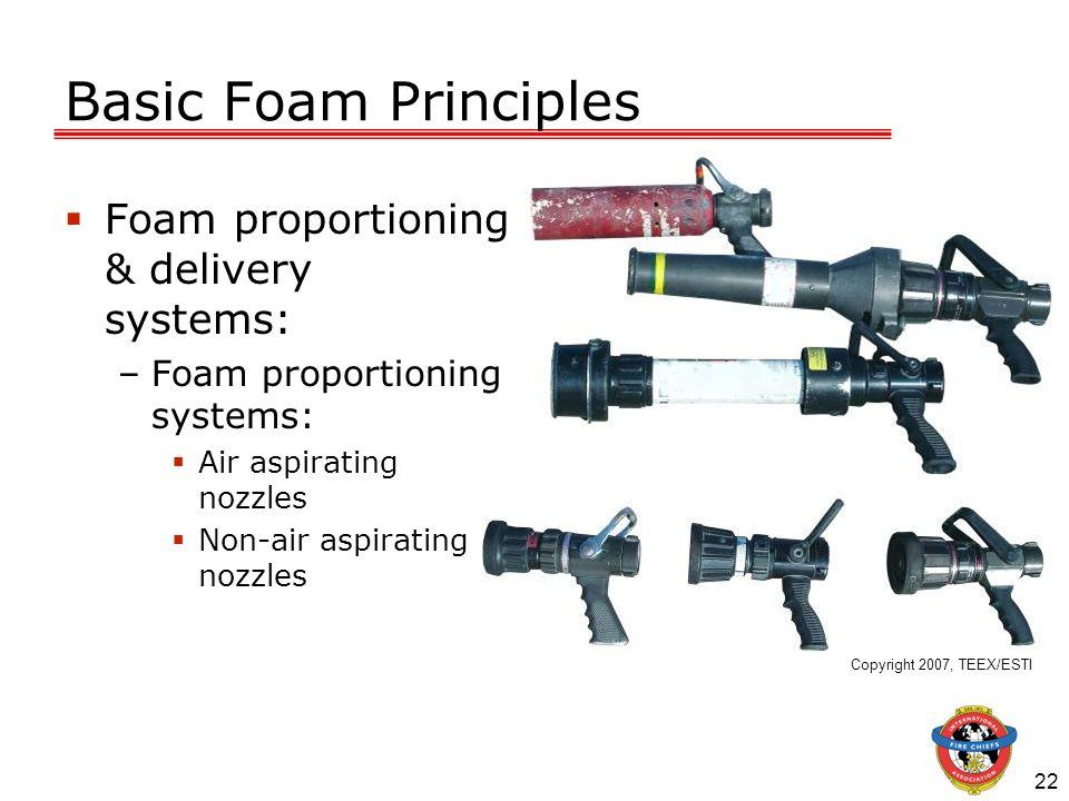 22 Basic Foam Principles Foam proportioning & delivery systems: –Foam proportioning systems: Air aspirating nozzles Non-air aspirating nozzles Copyrig