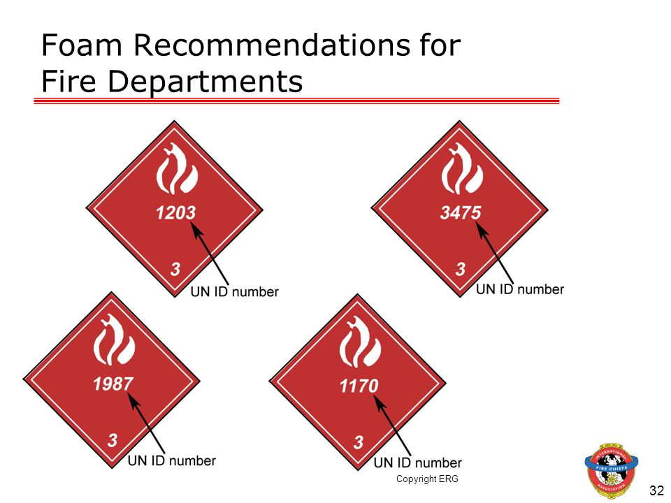 32 Foam Recommendations for Fire Departments Copyright ERG