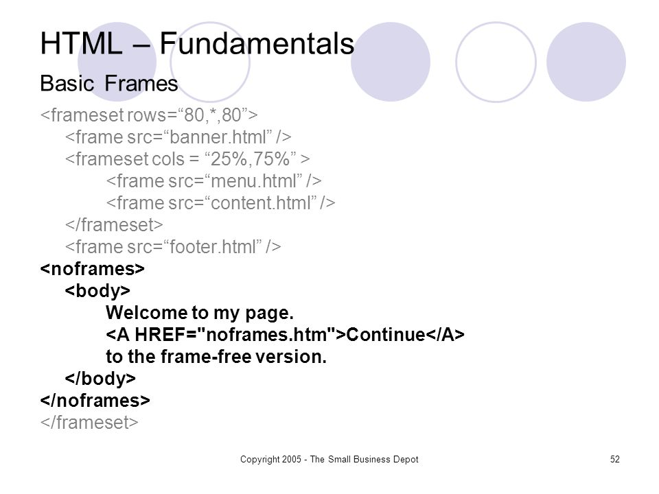 Copyright 2005 - The Small Business Depot52 HTML – Fundamentals Basic Frames Welcome to my page.