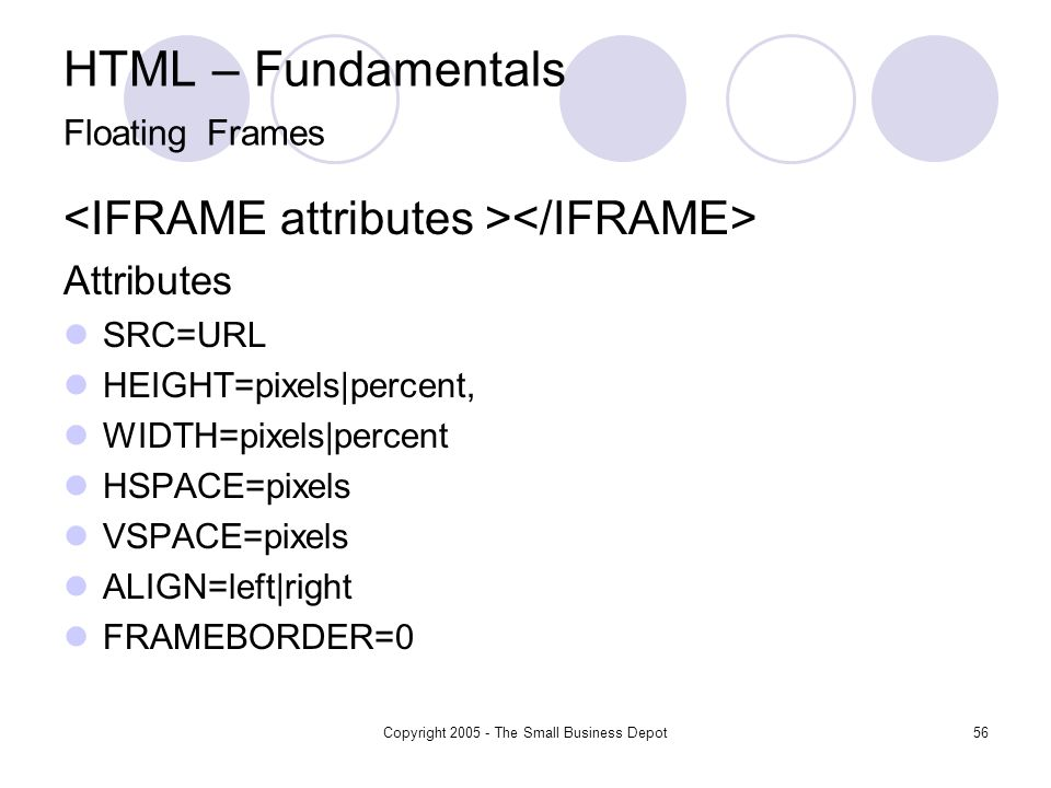Copyright 2005 - The Small Business Depot56 HTML – Fundamentals Floating Frames Attributes SRC=URL HEIGHT=pixels|percent, WIDTH=pixels|percent HSPACE=pixels VSPACE=pixels ALIGN=left|right FRAMEBORDER=0