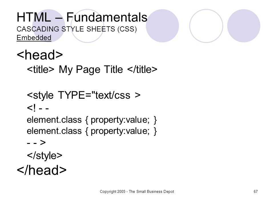 Copyright 2005 - The Small Business Depot67 HTML – Fundamentals CASCADING STYLE SHEETS (CSS) Embedded My Page Title <.
