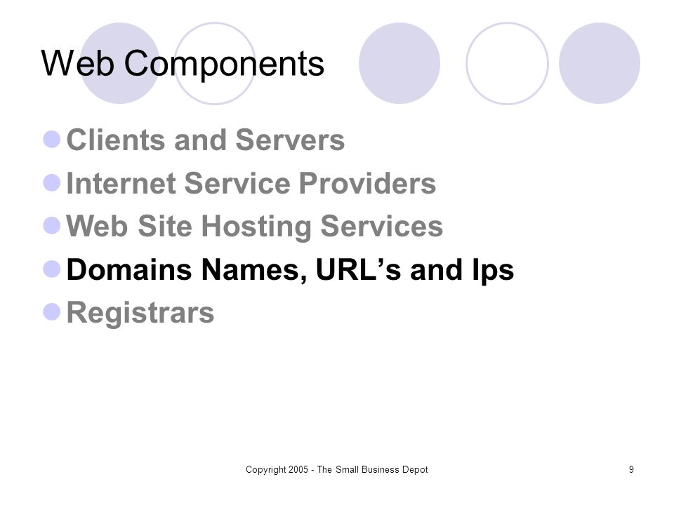 Copyright 2005 - The Small Business Depot9 Web Components Clients and Servers Internet Service Providers Web Site Hosting Services Domains Names, URLs and Ips Registrars