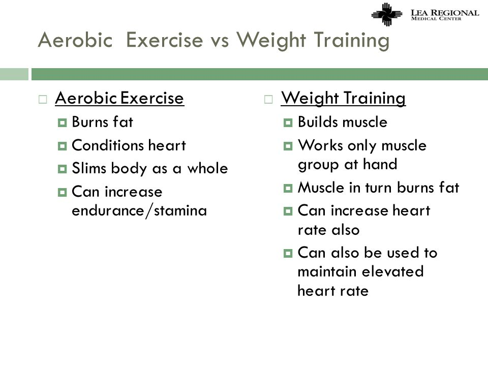 Aerobic Exercise vs Weight Training Aerobic Exercise Burns fat Conditions heart Slims body as a whole Can increase endurance/stamina Weight Training B