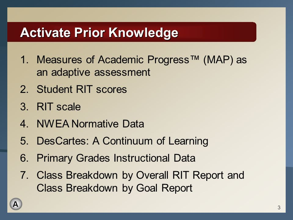 Activate Prior Knowledge 1.Measures of Academic Progress (MAP) as an adaptive assessment 2.Student RIT scores 3.RIT scale 4.NWEA Normative Data 5.DesC