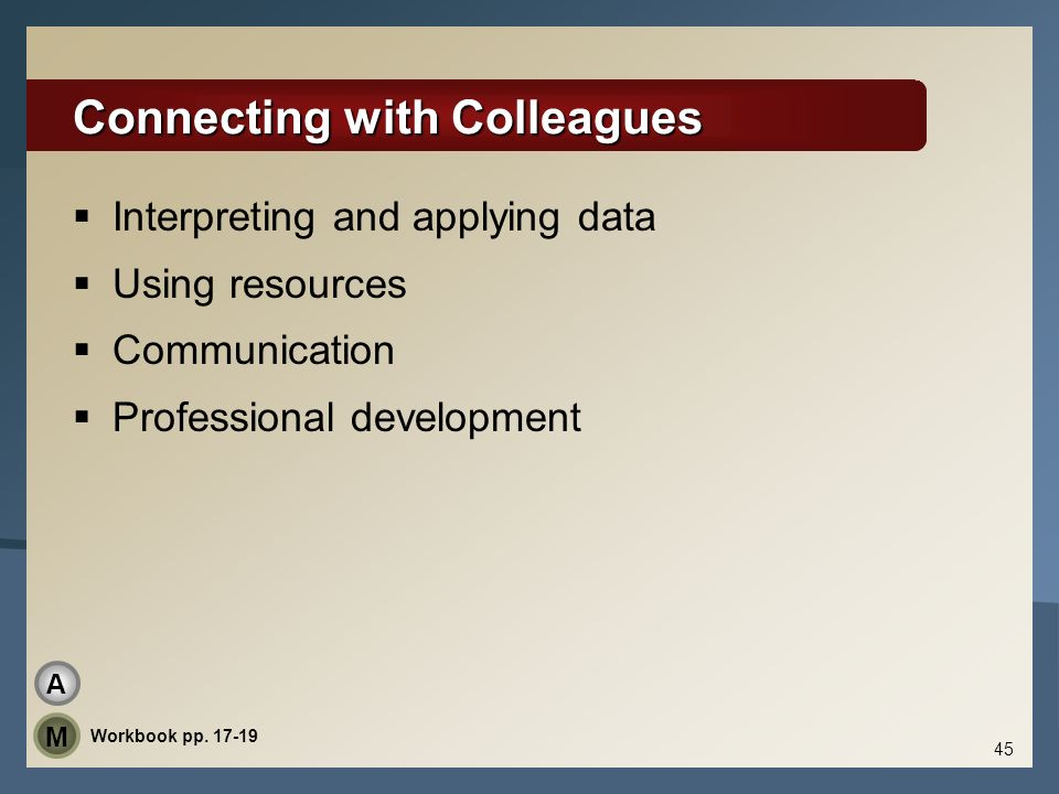 Connecting with Colleagues Interpreting and applying data Using resources Communication Professional development 45 Workbook pp. 17-19 A M