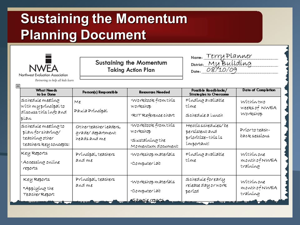Sustaining the Momentum Consider how you will implement what youve learned: Interpret and apply data from key reports Use data to evaluate academic needs in the classroom Set goals with students 37 Workbook p.