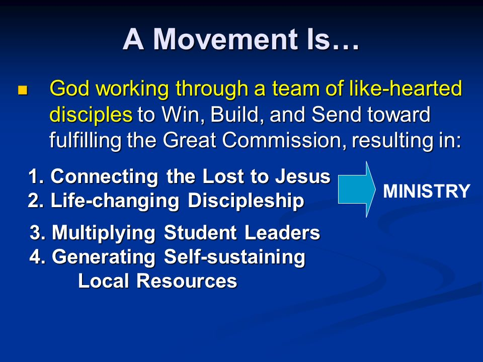 A Movement Is… MINISTRY 1. Connecting the Lost to Jesus 1.