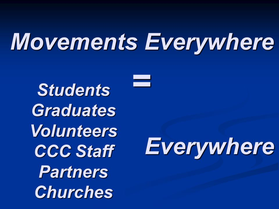 Movements Everywhere = Students Graduates Volunteers CCC Staff Partners Churches Everywhere