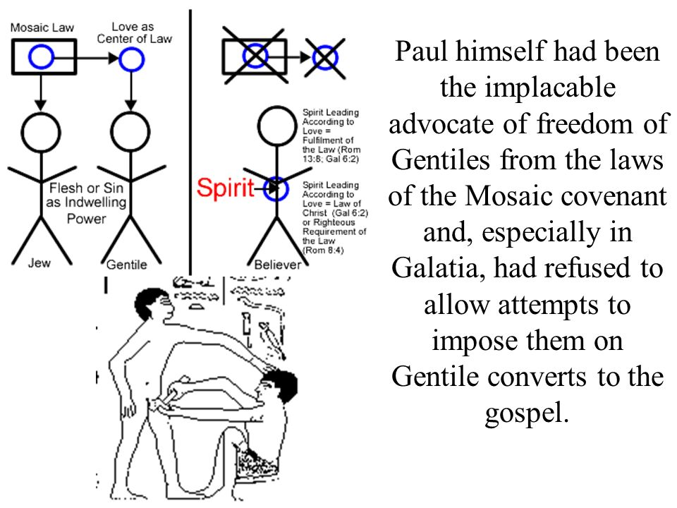 Paul himself had been the implacable advocate of freedom of Gentiles from the laws of the Mosaic covenant and, especially in Galatia, had refused to a