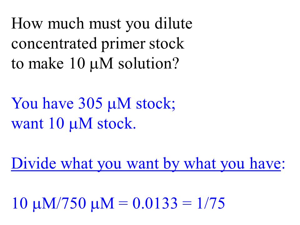 How much must you dilute concentrated primer stock to make 10 M solution.