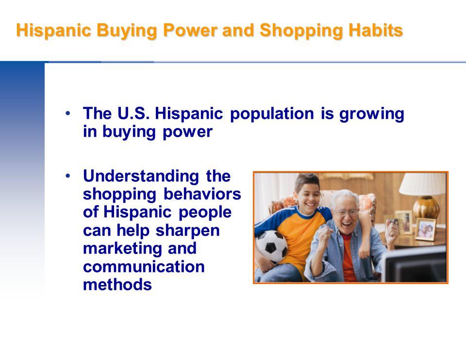 Hispanic Buying Power and Shopping Habits First Generation Hispanics Second Generation Hispanics Third Generation Hispanics Not all Hispanics are fluent in English or Spanish.