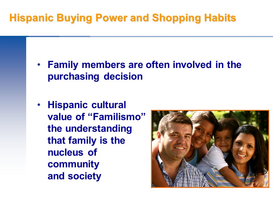 Hispanic Buying Power and Shopping Habits Give family members brochures or booklets Use inclusive body language Respect the position of wives and mothers Dont be shy about asking if other family members wear glasses or are having trouble with their vision.