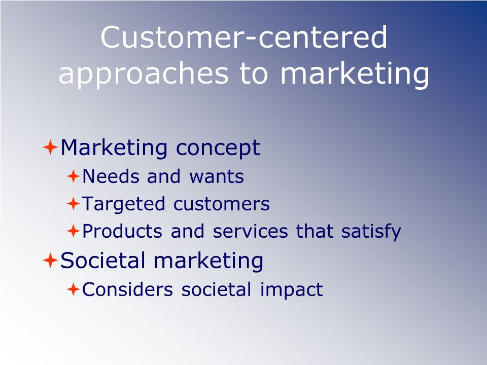 Customer-centered approaches to marketing Marketing concept Needs and wants Targeted customers Products and services that satisfy Societal marketing C