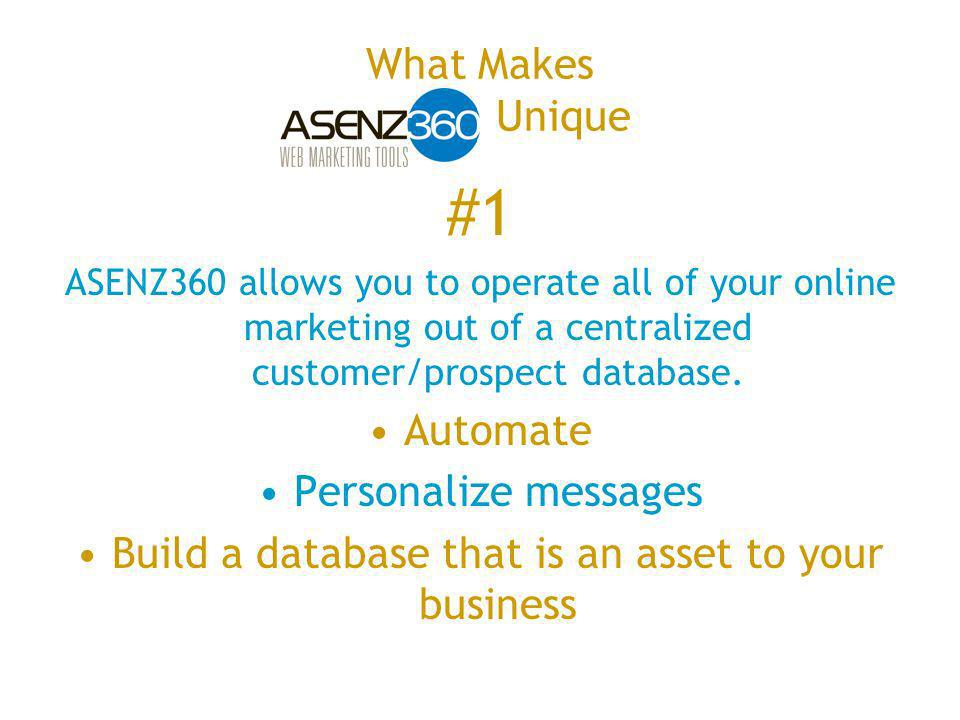 #1 ASENZ360 allows you to operate all of your online marketing out of a centralized customer/prospect database.