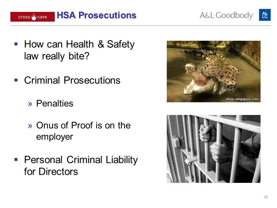 15 How can Health & Safety law really bite? Criminal Prosecutions Penalties Onus of Proof is on the employer Personal Criminal Liability for Directors