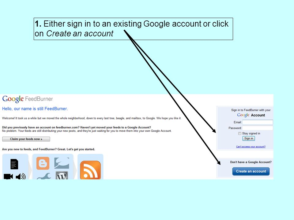 1. Either sign in to an existing Google account or click on Create an account