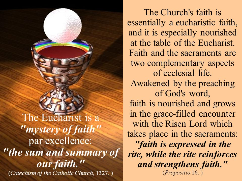 The Church s faith is essentially a eucharistic faith, and it is especially nourished at the table of the Eucharist.