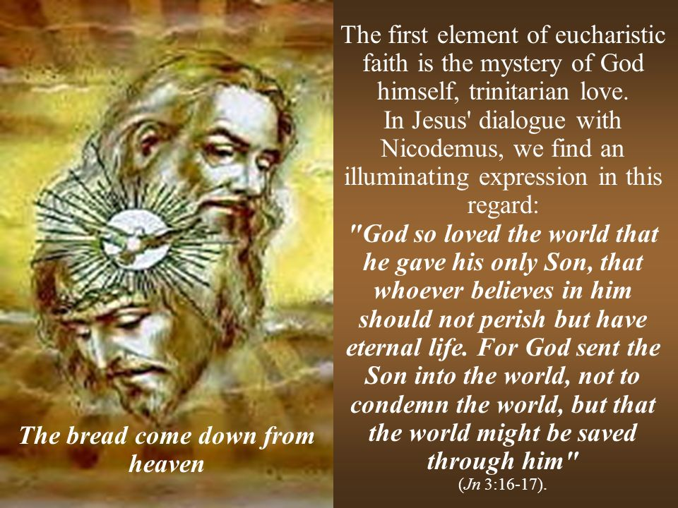 The first element of eucharistic faith is the mystery of God himself, trinitarian love. In Jesus' dialogue with Nicodemus, we find an illuminating exp