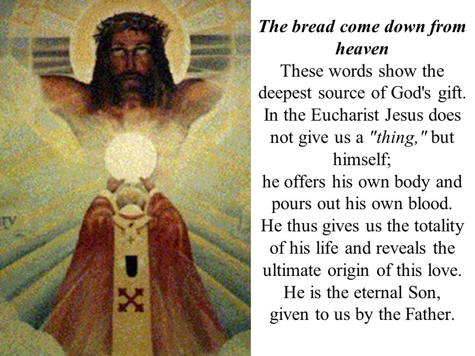These words show the deepest source of God's gift. In the Eucharist Jesus does not give us a