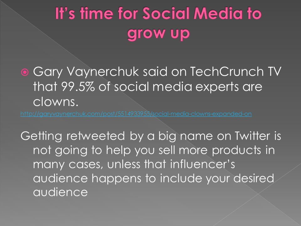 Gary Vaynerchuk said on TechCrunch TV that 99.5% of social media experts are clowns. http://garyvaynerchuk.com/post/5514933955/social-media-clowns-exp