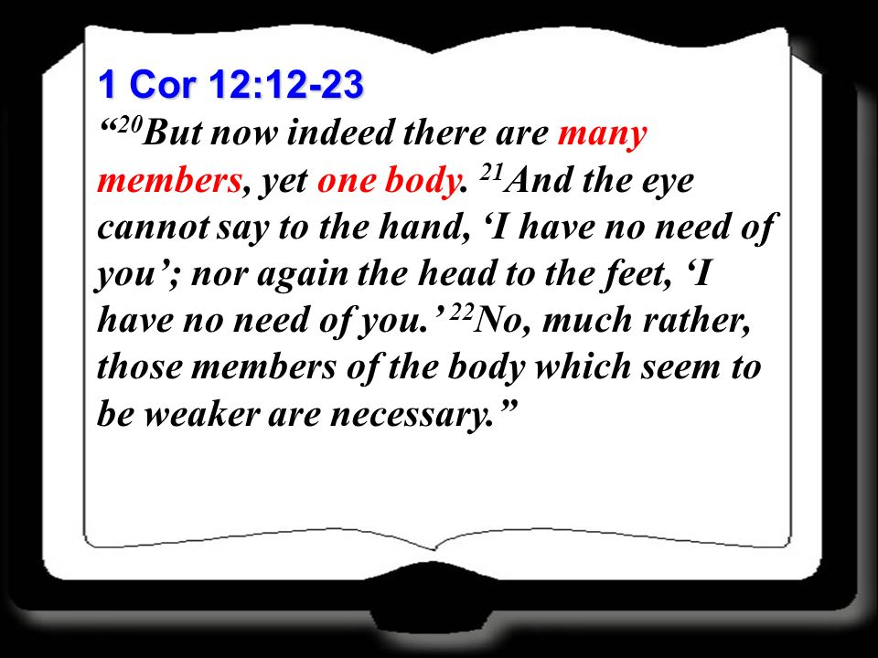 1 Cor 12:12-23 20 But now indeed there are many members, yet one body. 21 And the eye cannot say to the hand, I have no need of you; nor again the hea
