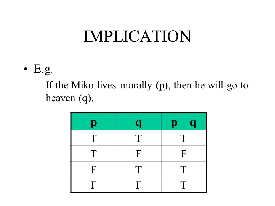 IMPLICATION E.g.–If the Miko lives morally (p), then he will go to heaven (q).