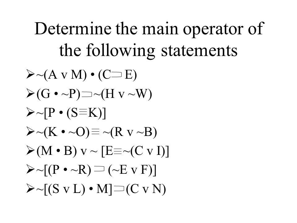 Determine the main operator of the following statements ~(A v M) (C E) (G ~P) ~(H v ~W) ~[P (S K)] ~(K ~O) ~(R v ~B) (M B) v ~ [E ~(C v I)] ~[(P ~R) (