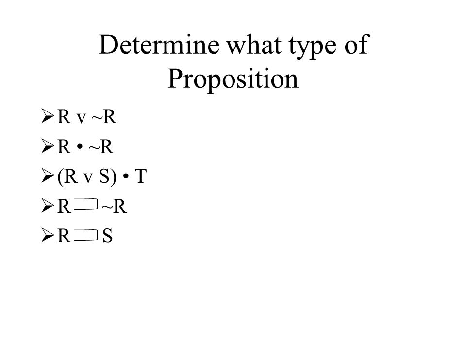 Determine what type of Proposition R v ~R R ~R (R v S) T R ~R R S