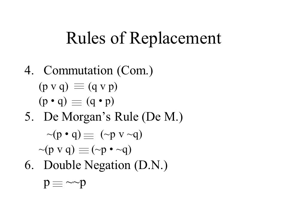 Rules of Replacement 4.Commutation (Com.) (p v q) (q v p) (p q) (q p) 5.De Morgans Rule (De M.) ~(p q) (~p v ~q) ~(p v q) (~p ~q) 6.Double Negation (D.N.) p ~~p