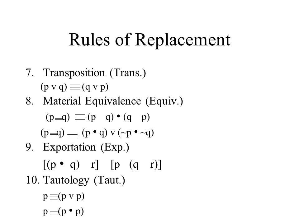 Rules of Replacement 7.Transposition (Trans.) (p v q) (q v p) 8.Material Equivalence (Equiv.) (p q) (p q) (q p) (p q) (p q) v (~p ~q) 9.Exportation (E