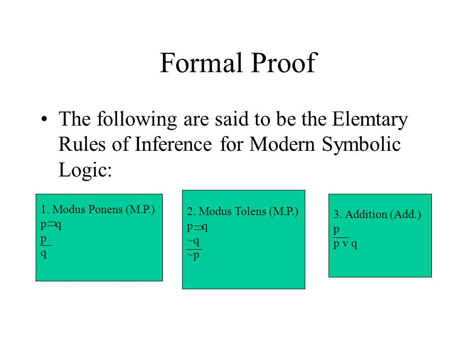 Formal Proof The following are said to be the Elemtary Rules of Inference for Modern Symbolic Logic: 1.