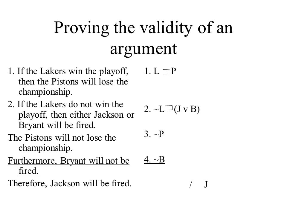 Proving the validity of an argument 1. If the Lakers win the playoff, then the Pistons will lose the championship. 2. If the Lakers do not win the pla