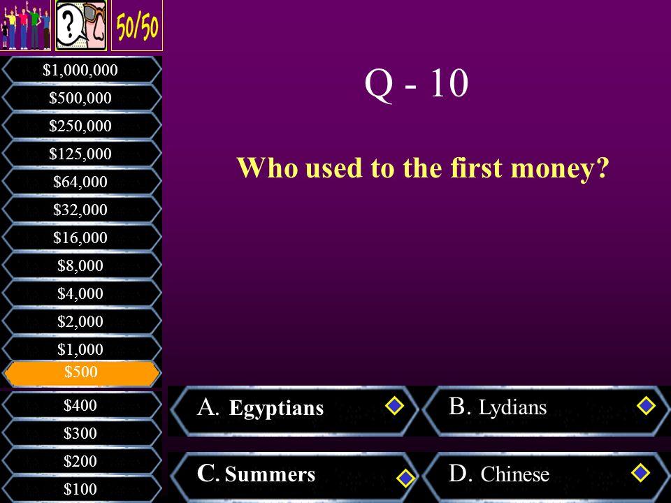 Who built the Kaba? A. Hz. Muhammad B. Hz. Moses C. Hz. David D. Hz. Abraham $200 $300 $400 $100 $1,000 $2,000 $4,000 $8,000 $16,000 $32,000 $64,000 $