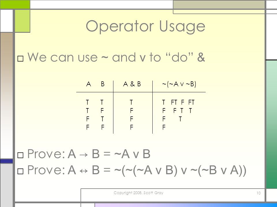 Copyright 2008, Scott Gray 10 Operator Usage We can use ~ and v to do & A & BA B T T T F F T F F TFFFTFFF ~(~A v ~B) T FT F FT F F T T F T F Prove: A B = ~A v B Prove: A B = ~(~(~A v B) v ~(~B v A))