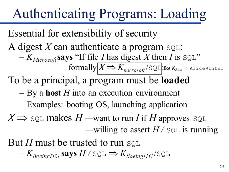 23 Authenticating Programs: Loading Essential for extensibility of security A digest X can authenticate a program SQL : –K Microsoft says If file I ha
