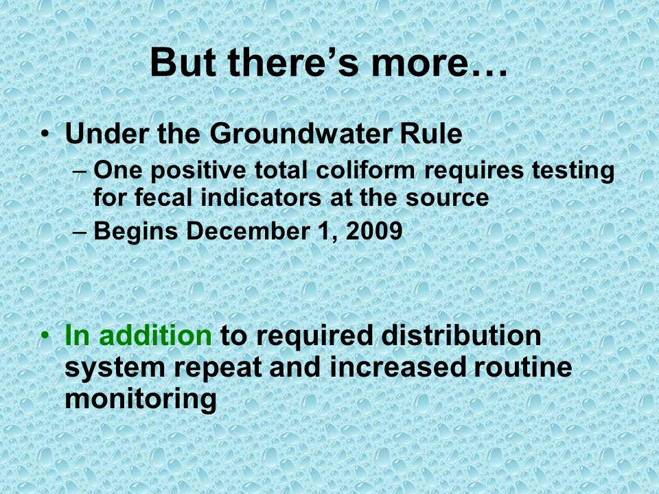 But theres more… Under the Groundwater Rule –One positive total coliform requires testing for fecal indicators at the source –Begins December 1, 2009