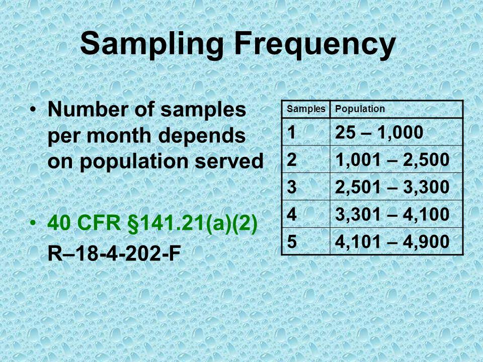 Sampling Frequency SamplesPopulation 125 – 1,000 21,001 – 2,500 32,501 – 3,300 43,301 – 4,100 54,101 – 4,900 Number of samples per month depends on po