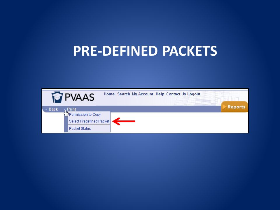 PRE-DEFINED PACKETS