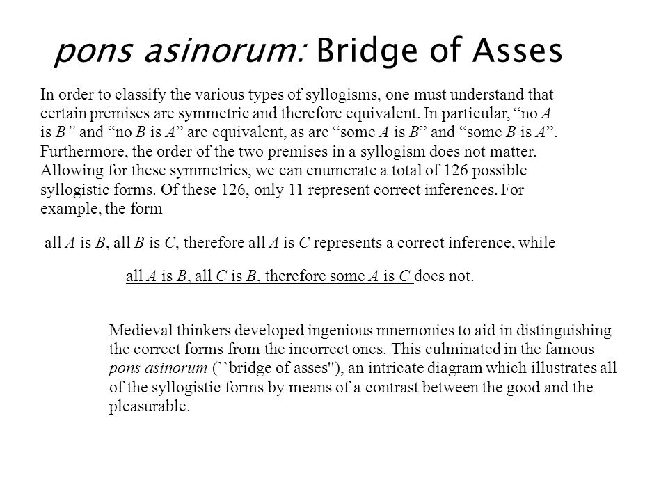 pons asinorum: Bridge of Asses In order to classify the various types of syllogisms, one must understand that certain premises are symmetric and there