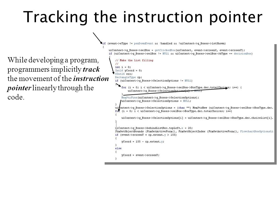 Tracking the instruction pointer While developing a program, programmers implicitly track the movement of the instruction pointer linearly through the